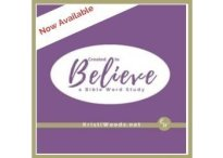 Dark purple square announcing the Created to Believe Bible Study