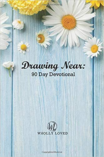 Blue background with daisies and title: Drawing Near: 90 Day Devotional