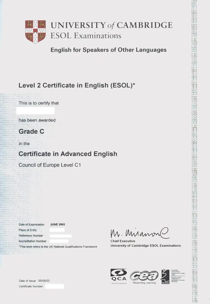 CAE Cambridge advanced certificate