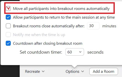Zoom move all participants into breakout rooms automatically option