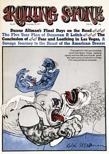 1971 Rolling Stone Cover featuring   Fear and Loathing in Las Vegas