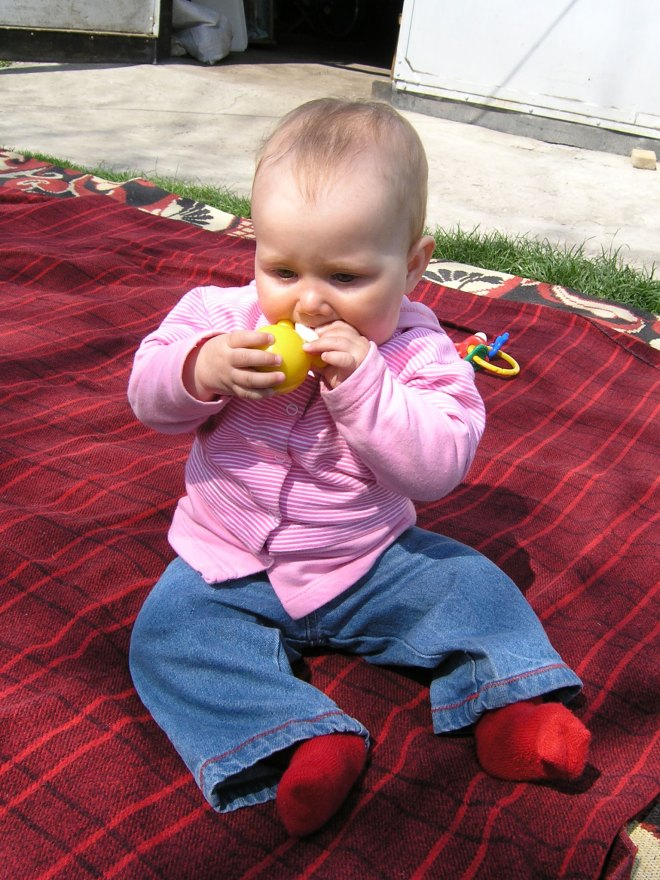 Krisitna plays outdoor