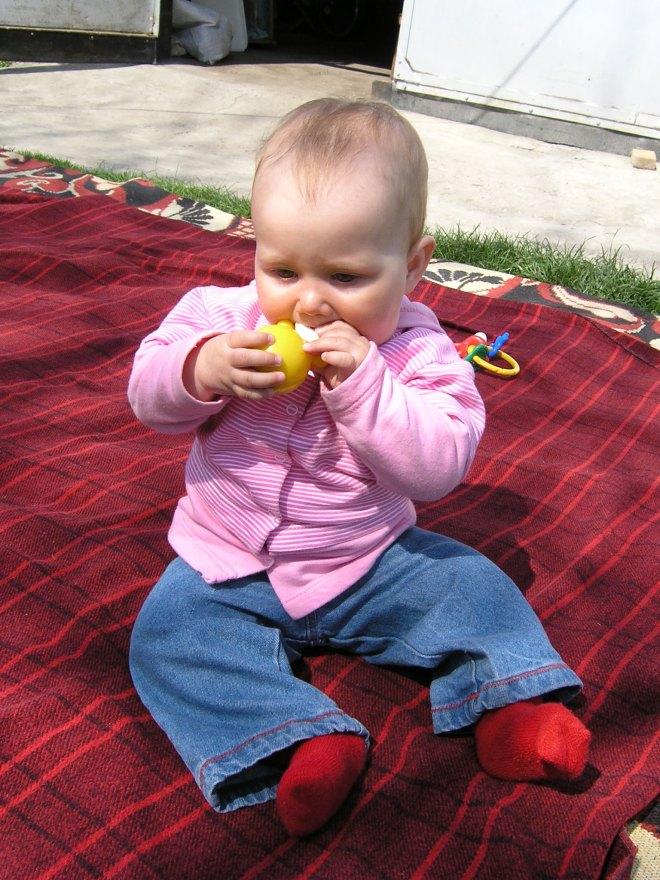 Krisitna plays outdoor