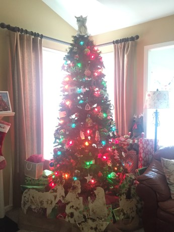 Our tree! We opted for big colorful lights this year.