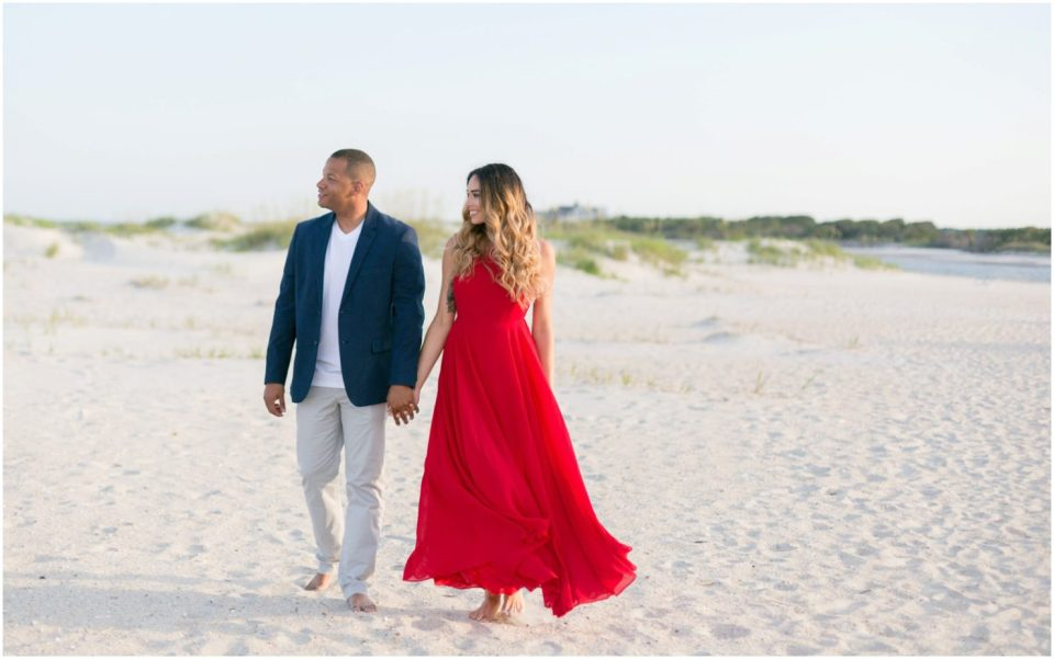 Red dress- Pawleys Island Engagement Session