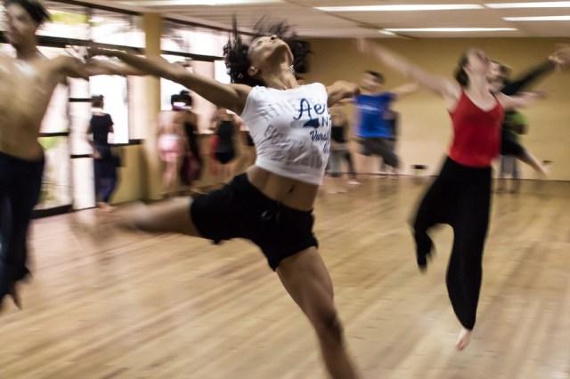 Lady dancing in class