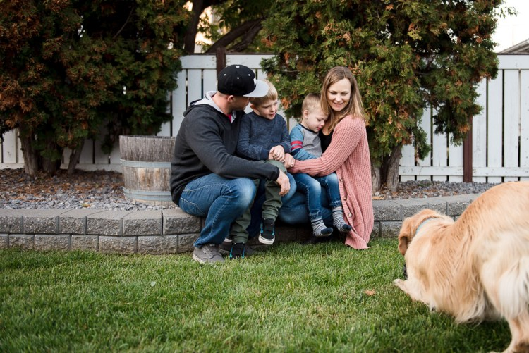 The Wolfe Pack with our golden retriever, Indy. Photo credit Fiddle Leaf Photography