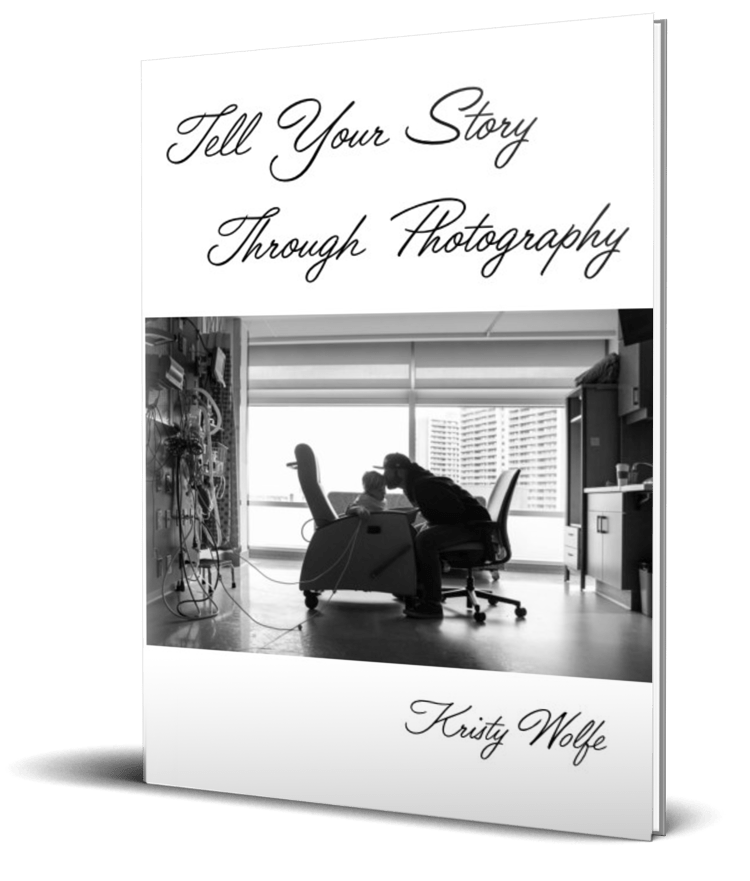 The front cover of Tell Your Story Through Photography by Kristy Wolfe