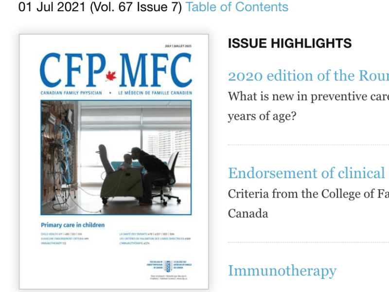 Cover image of Canadian Family Physicians July 2021 issue by Kristy Wolfe.
