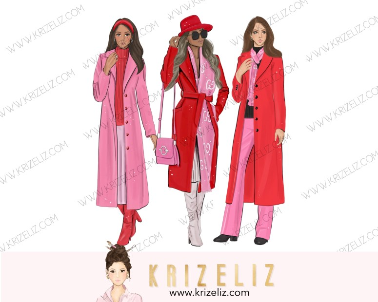 Kriz Eliz Illustrations Pink & Red Fashion