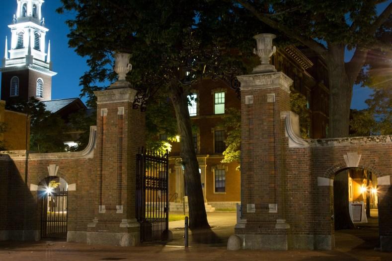 Gate to Harvard Yard, long exposure