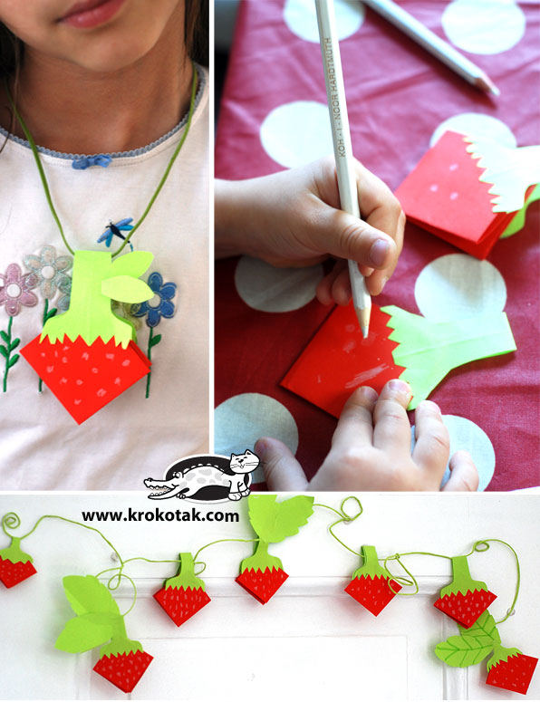 Paper strawberries origami