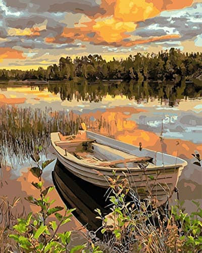 Best Paint by Numbers Kit - Lakeside Boat