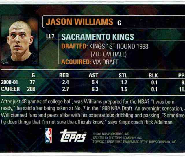 Real Card Back Image 2001 02 Topps Lottery Legends Jason Williams Ll7 Card Back Image