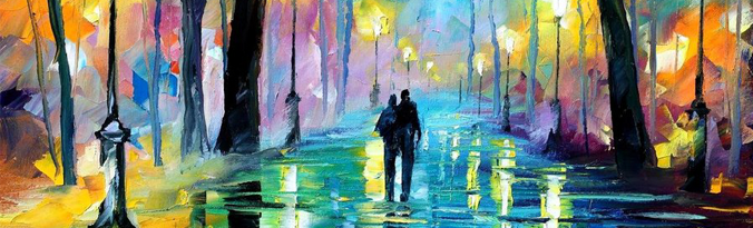 FOG IN THE PARK — PALETTE KNIFE Oil Painting On Canvas By Leonid Afremov