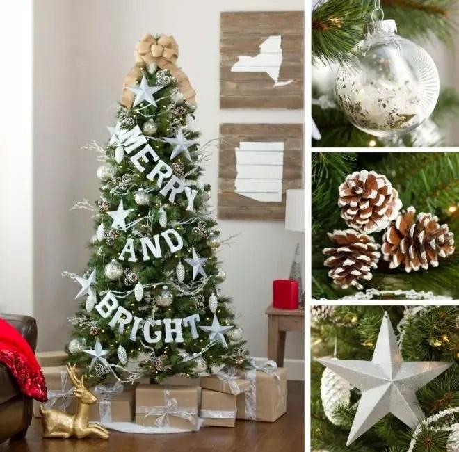 På dette juletreet er det sentrale stedet inspirert av store snøhvit bokstaver.
