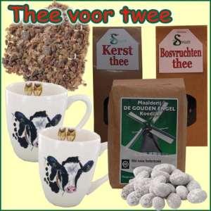 Kerstpakket Thee voor twee - thee Cadeaupakket gevuld met originele StreekSpecialiteiten - Thee Cadeaupakket - www.kerstpakkettencadeaubon.nl