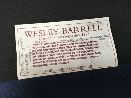 Wesley-Barrell label detail