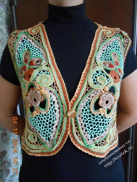 Bolero dalam gaya Lace Irish - kerja Elvira Aleva