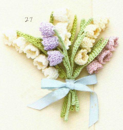 Мини - букет из цветов крючком