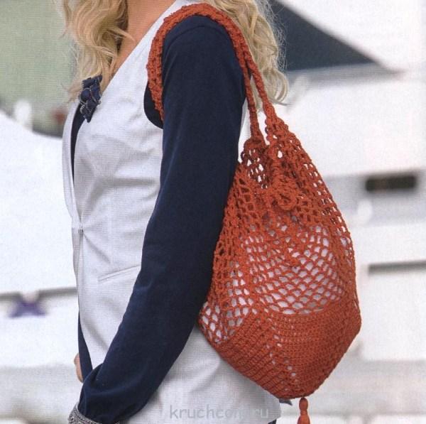 Вязаная сумка-сетка крючком | Вязание крючком, бесплатная ...