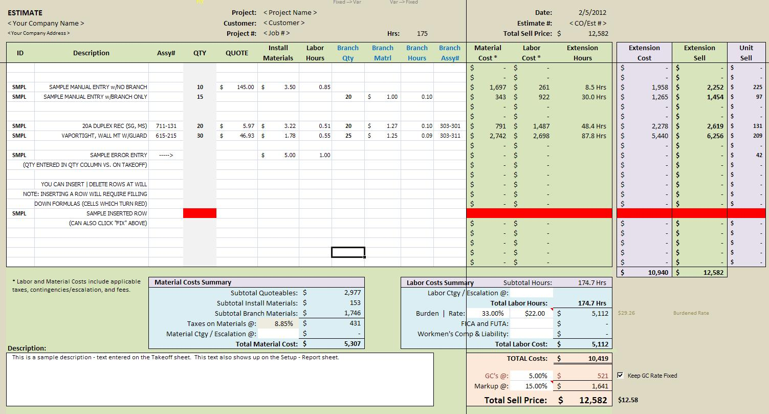 Estimating With Excel