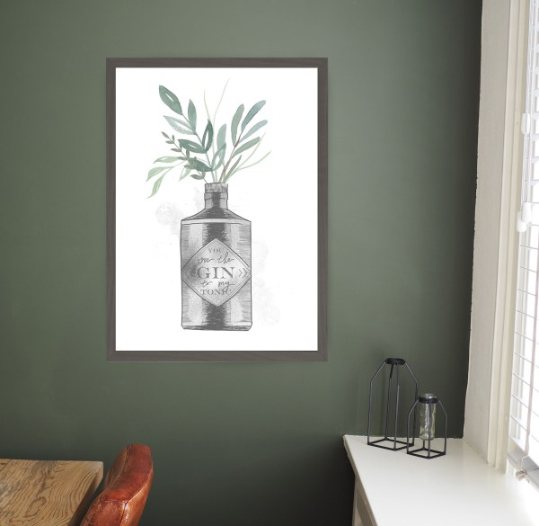 Kunstdruck Gin Vase , Poster mit You are the Gin to my Tonic Spruch