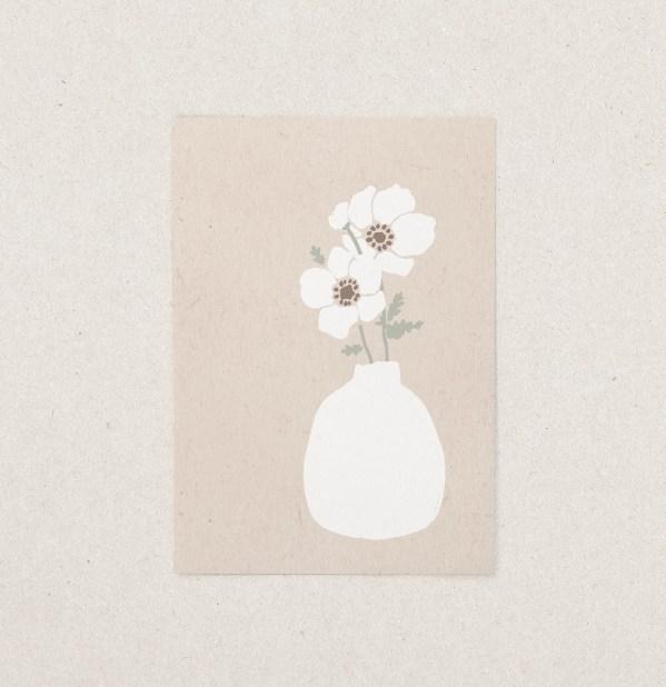 Postkarte Blumenvase, Blumen