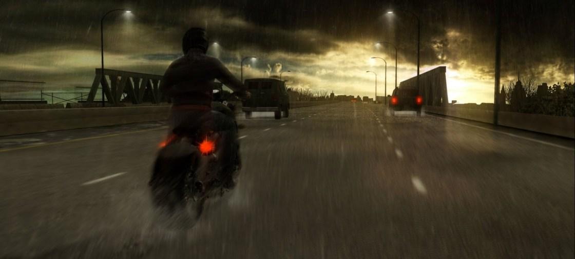 אופנוע בגשם