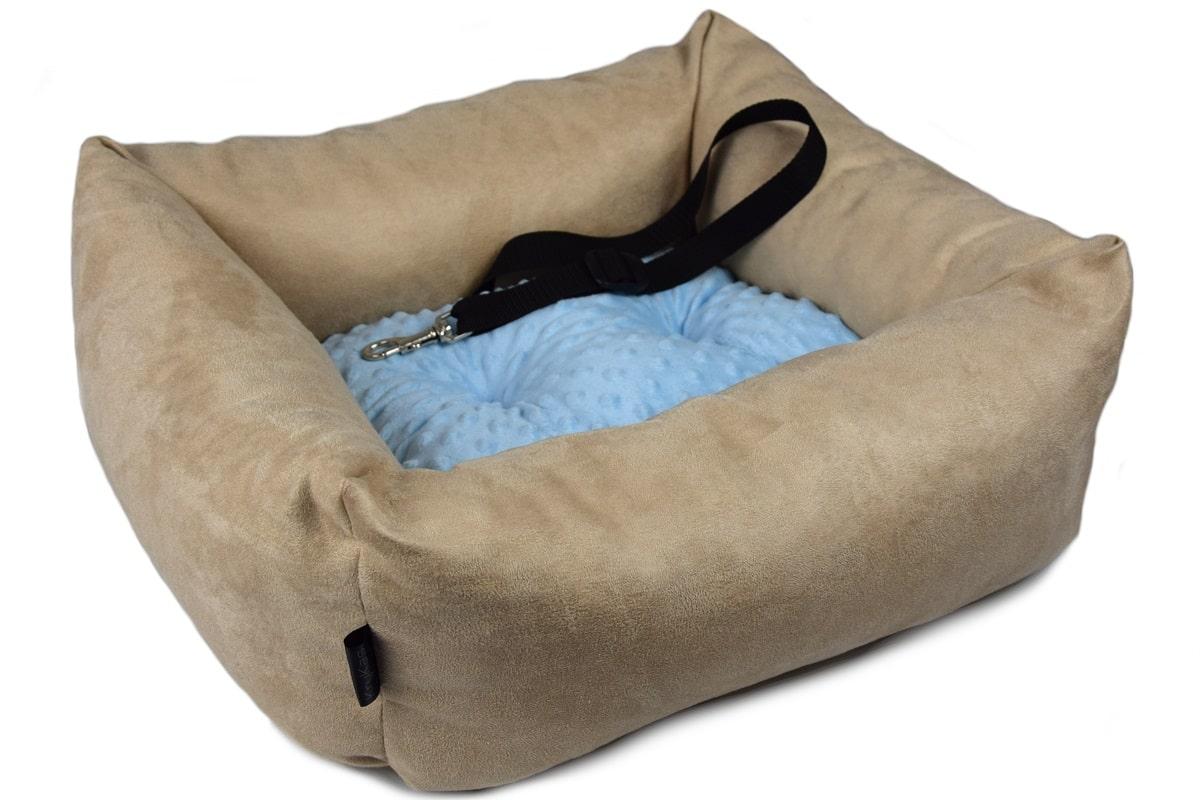 KryKas - antyalergiczny fotelik samochodowy premium dla psa - beżowy z niebieską poduszką