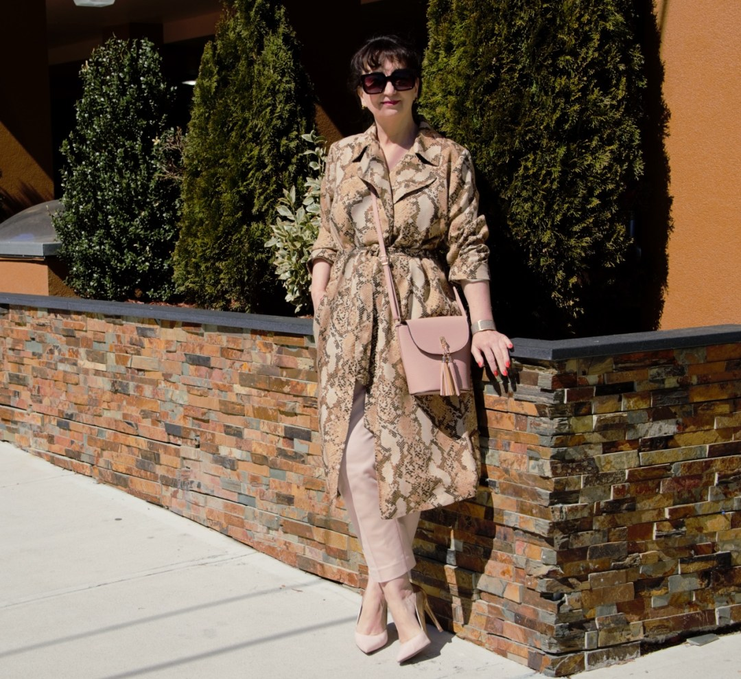 SNAKESKIN-PATTERNED TRENCHCOAT