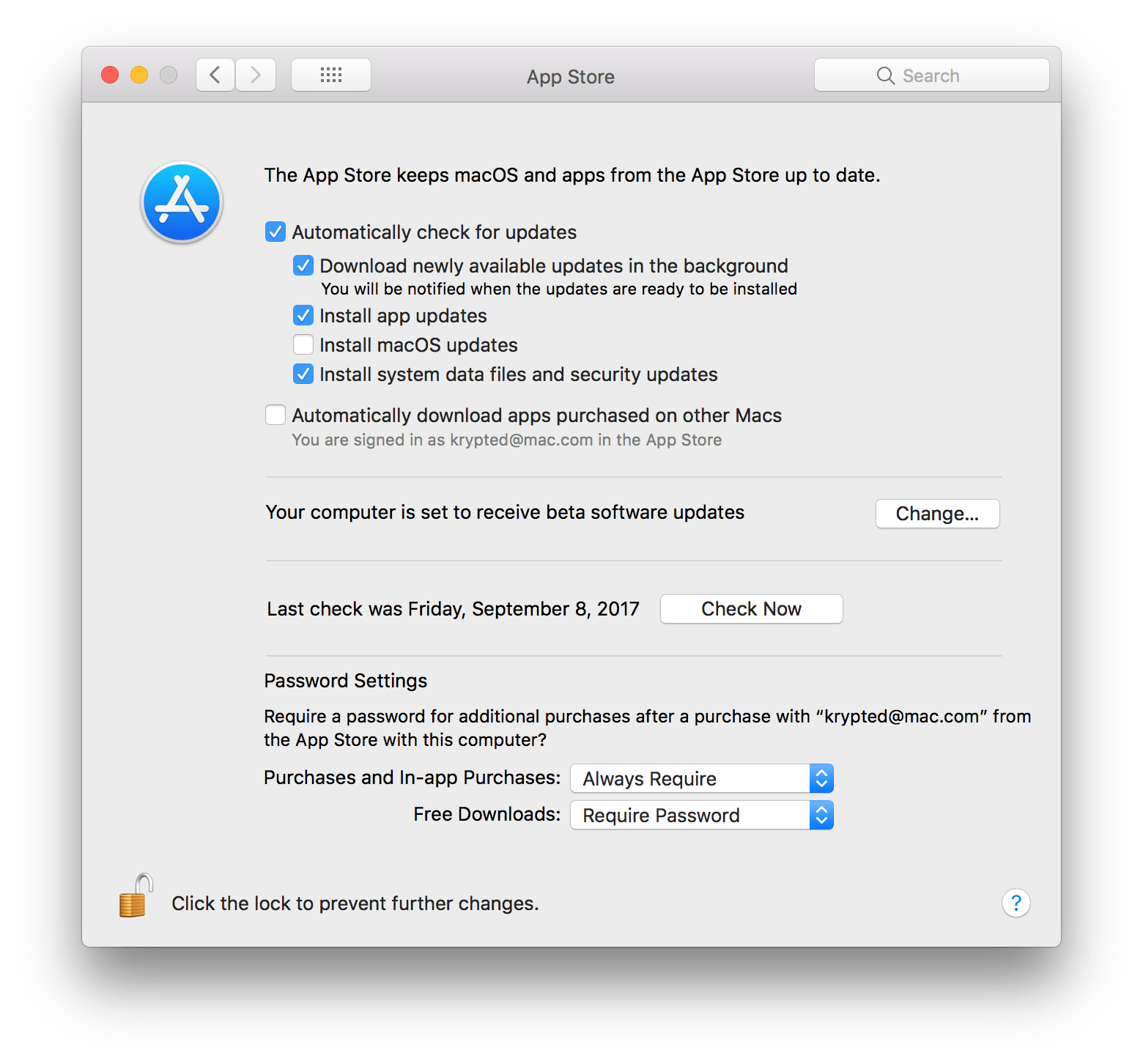App Store Preferences To Set In On Server 5 4 for macOS High Sierra