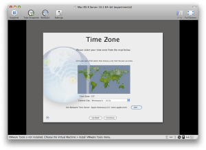 Time Zone screen