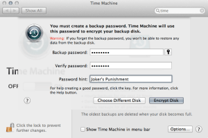 Configuring The Password For A Time Machine Backup