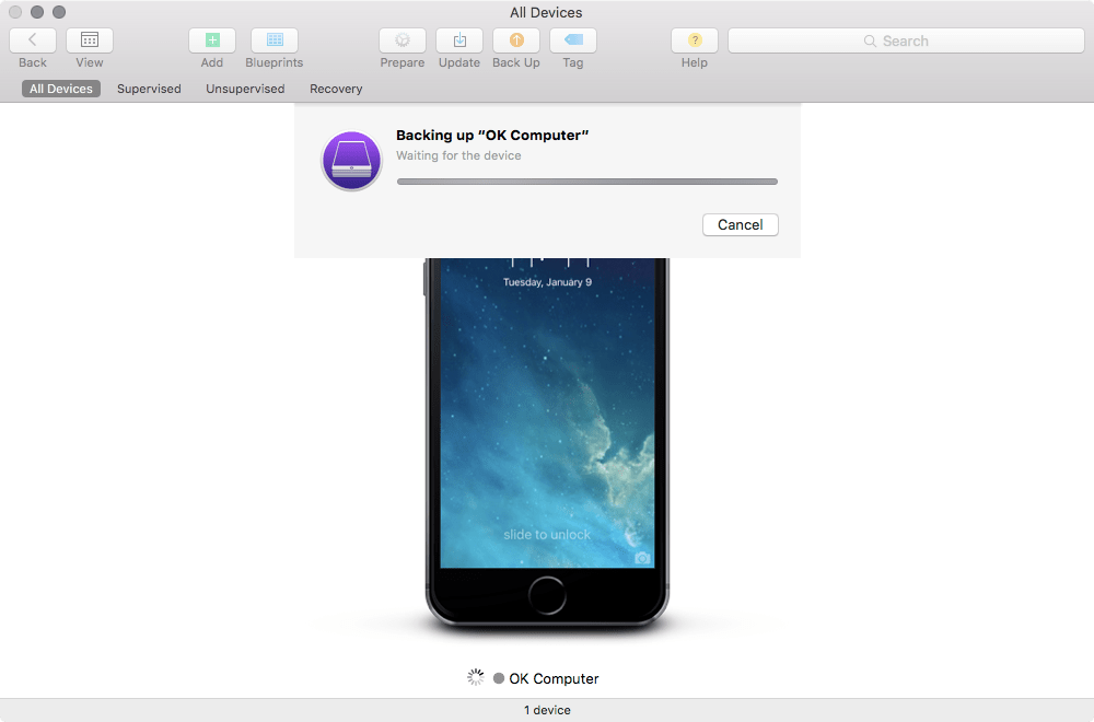Create a backup in apple configurator 2 krypted you can now use the backup to restore devices or assign the backup to a blueprint so it will be used to restore devices that the blueprint malvernweather Gallery