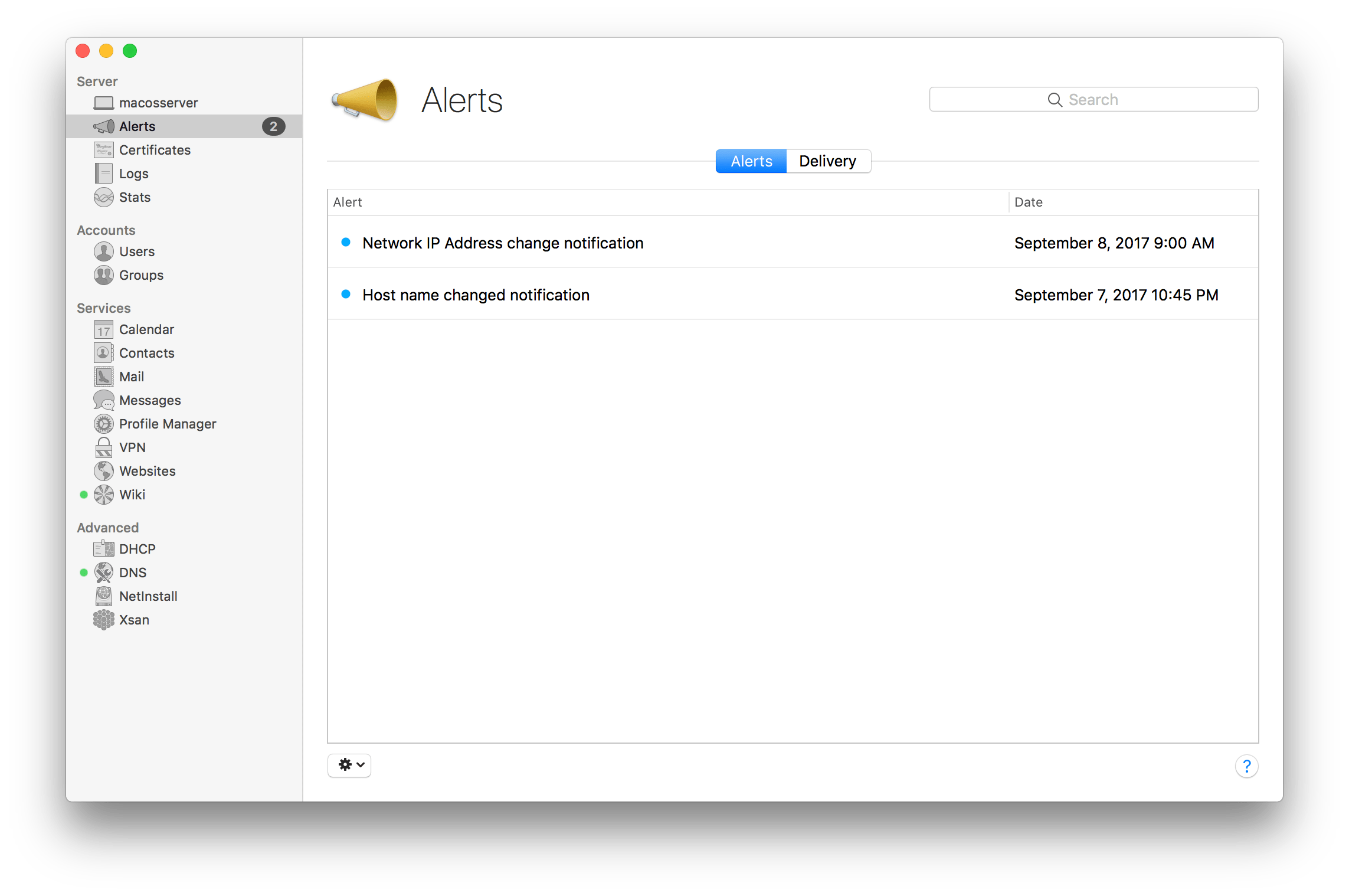 Configure Alerts In macOS Server 5.4 for High Sierra
