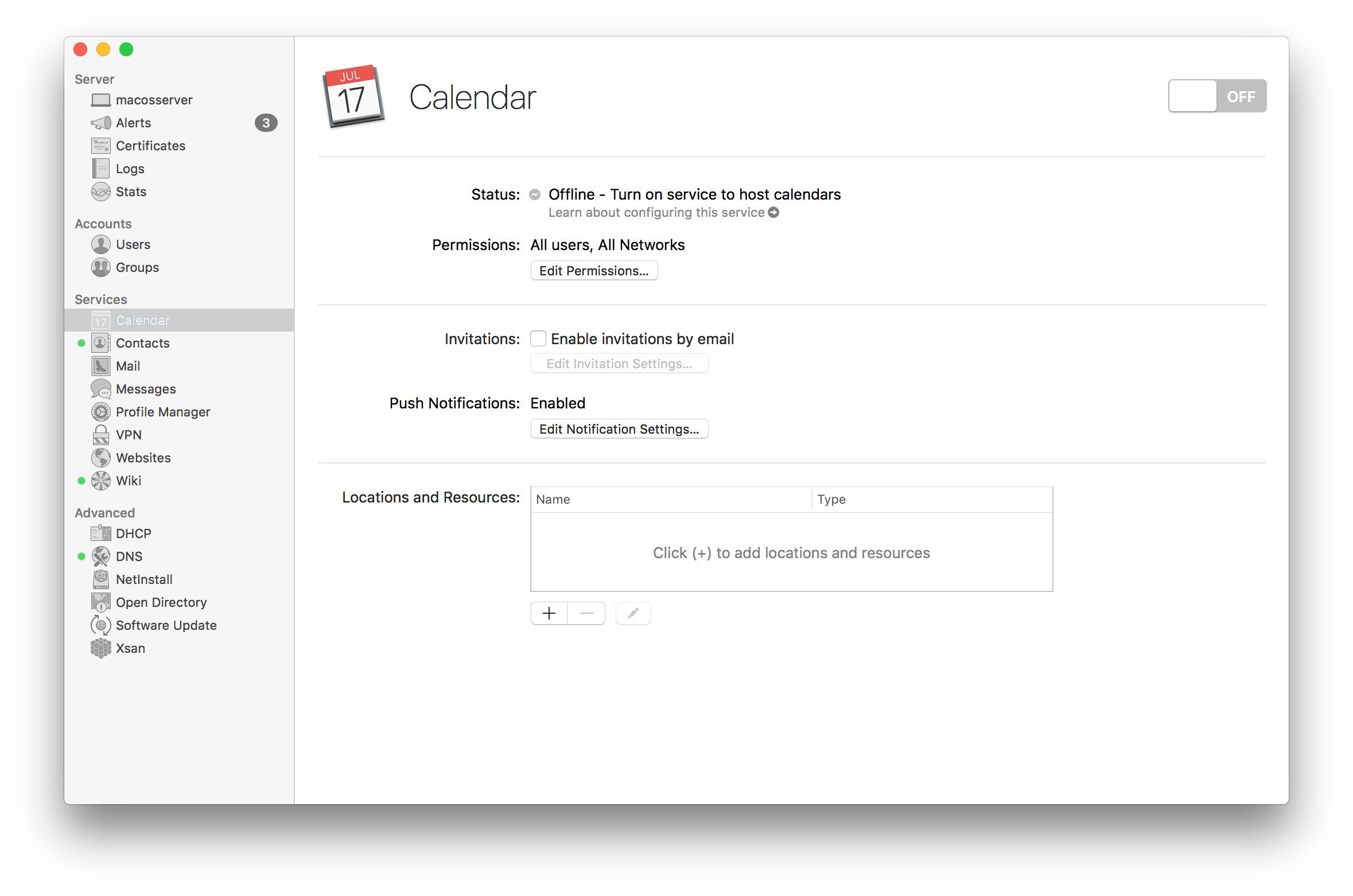 Setup The Calendar Service In macOS Server 5.4 for High