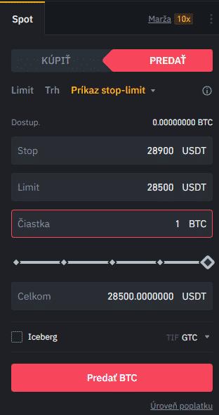Stop-limit na predaj. Zdroj: Binance