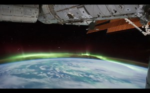 Earth from space, ISS and aurora borealis