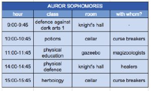 A sample class matrix for someone studying to be an Auror