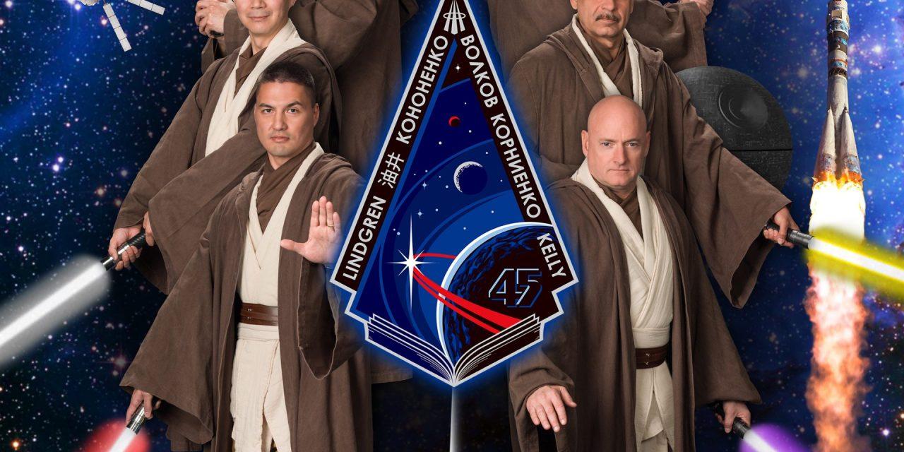 I.S.S. Astronauts Dressed as Jedi