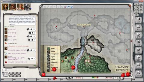 The DM's view of a campaign in progress on 'Fantasy Grounds' D&D