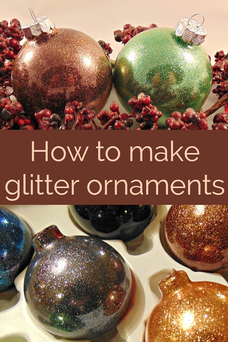How to make easy glitter ornaments with floor wax krysanthe diy glitter ornaments solutioingenieria Gallery
