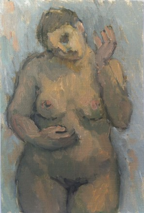 Krys Robertson: Nude on Blue, postcard size