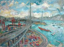 KRYS ROBERTSON: Tsing Yi Highway Loop, seen from Tsing Yi. Oil on canvas, 121 x 91cm. 2013