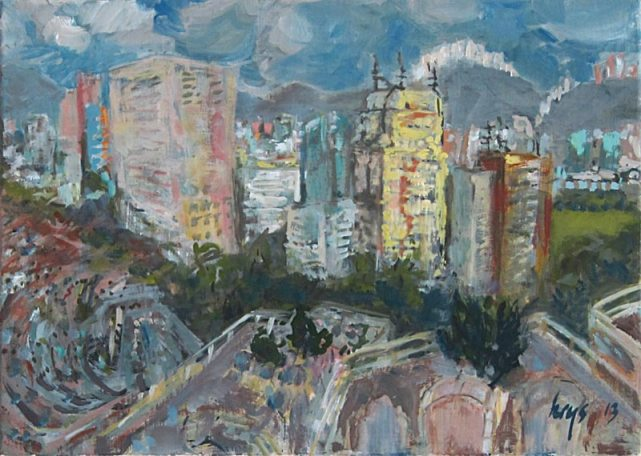 KRYS ROBERTSON: Tsuen Wan Graveyard View Towards the City (II). Oil on canvas. 49 x 35 cm. 2013