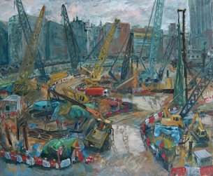 KRYS ROBERTSON: Building site of West Kowloon Terminus after the Rain. Oil on Canvas. 86 x 71 cm. 2013