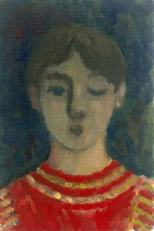 Krys Robertson. Youth, one eye closed, with red striped jumper. Oil on prepared paper. 2015. Postcard sized.