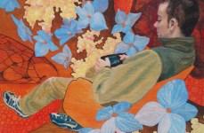 "Sundays, Box Series, 2014, Mixed Media Painting on Panel, 8x10x1.5"", Krystal Booth."