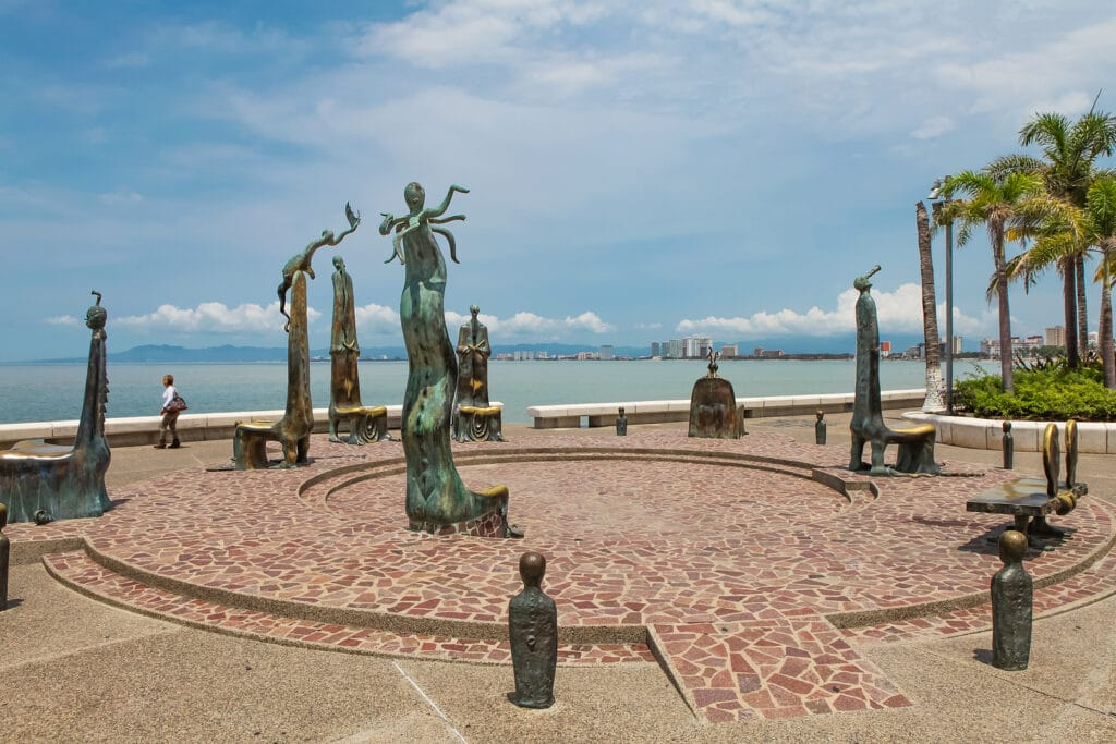 The Roundabout of the Sea sculputers in Puerto Vallarta in Mexic